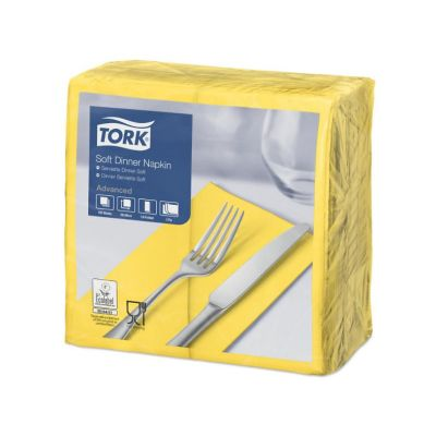 Tork dinnerservet 39x39cm 3-laags 1/8-vouw passion yellow 12x100